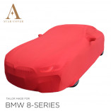 BMW 8 Series Cabrio G14 Indoor Cover - Mirror Pockets - Red